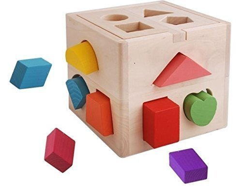 Vidatoy 13 Hole Cube for Shape Sorter Cognitive and Matching Wooden Toys