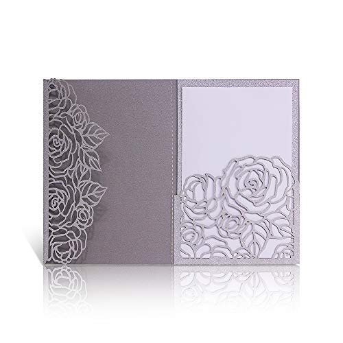 Laser Cut Wedding Invitations with Envelopes - 25pcs 3 Folds 4.7*7 inch Silver Glitter Rose Wedding Invitations Cards Kit With Printable Inner Sheet, Envelopes for Bridal Baby Shower Engagement Party