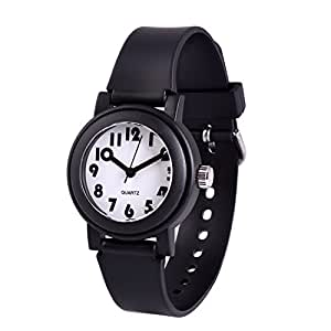 Wolfteeth Analog Grade School Boys Kids Wrist Watch with Second Hand Cute Small Face White Dial Water Resistant Toddler Watch Black 305804