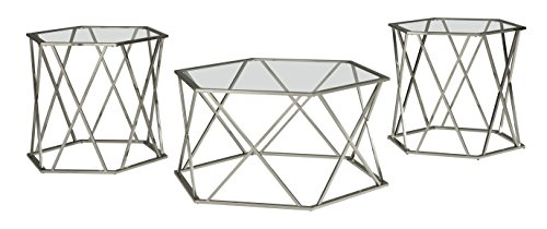 Ashley Furniture Signature Design - Madanere Contemporary 3-Piece Table Set - Includes Cocktail Table & Two End Tables - Chrome (Four Piece Occasional Table)