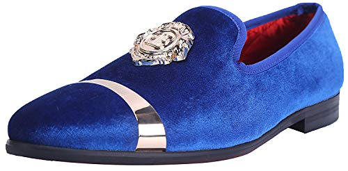 Blue Mens Pennies - ELANROMAN Men Loafers Slippers with Gold Plate Fashion Penny Party Luxury Blue Slip on Formal Shoes US 9.5 EUR 43 Feet Lenght 290mm
