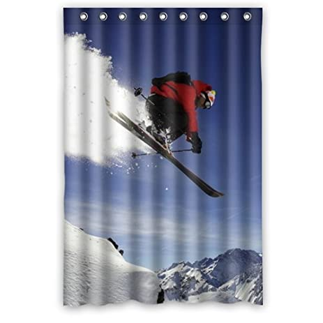 Cool Sport Alpine Skiing Shower Curtain 100 Polyester Waterproof Fabric 48quot