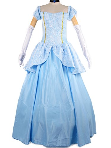 Princess Cinderella Costume Women Adult Cosplay Halloween Fancy Dress M Blue (Adult Cinderella Dress)