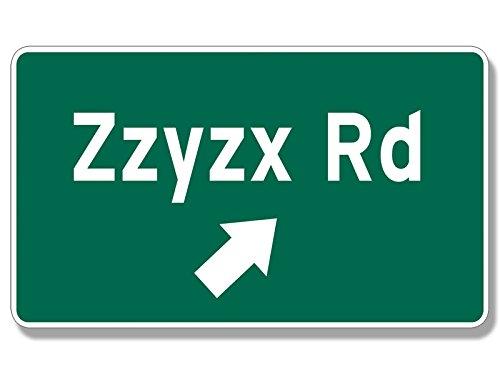 ZZYZX Rd Sign Shaped Sticker (california interstate 15 vegas - Run Vegas