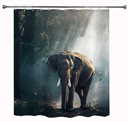 HIYOO Bathroom Decorative Polyester Fabric Waterproof Shower Curtain, Bath Curtain, Animal Popular Characters Theme Design, High-Definition Image, with Hooks 72