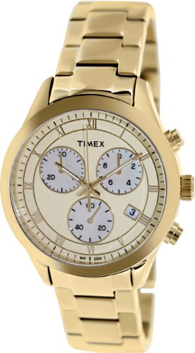 Champagne Chronograph Dial (Timex Champagne Dial Chronograph Gold Tone Metal Ladies Watch T2P159)