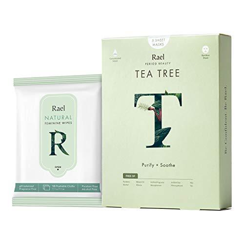 Rael Sheet Masks Value Packs - Real Natural Facial Masks With Tea Tree Oil 1 Pack(5 Sheets) and Natural Feminine Wipes 1 Pack by Rael