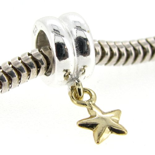 .925 Sterling Silver With Gold Tone Twinkle Star Meteor Dangle Bead For Pandora, Troll Chamilia Biagi European Story Charm Bracelets