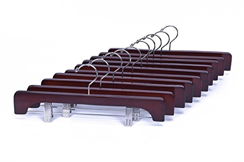 Wood Skirt Hangers (J.S. Hanger Wooden Hanger with two Chrome Clips, Walnut, 10-Pack)