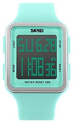 Digital Sport Watch Water Resistant Outdoor Electronic Big Face Silicone Teen Girls Women's Light Green SK1139A from GUANG ZHOU JINGJIN WATCH CO.,LTD