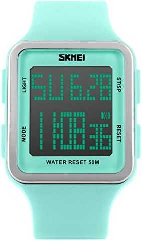 [Sponsored] Digital Sport Watch Water Resistant Outdoor Electronic Big Face Silicone Teen Girls Women's Light Green SK1139A