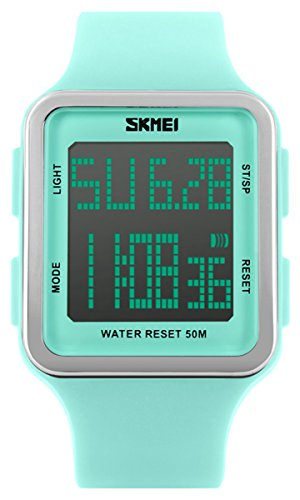 Digital Sport Watch Water Resistant Outdoor Electronic Big Face Silicone Teen Girls Womens Light Green SK1139A