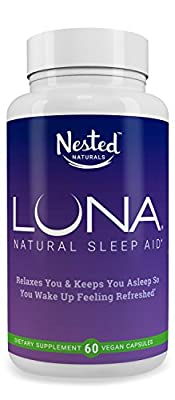 LUNA   #1 Natural Sleep Aid on Amazon   60 Non-Habit Forming Vegan Capsules   Herbal Sleeping Complex with Melatonin 6mg, Valerian, Chamomile, Magnesium 10mg & More   Relax and Calm Supplement Pills