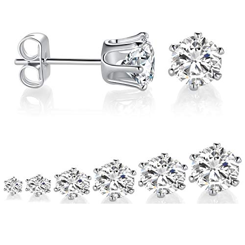 6 Pairs Stud Earrings Size 3-8mm 14K White Gold Plated Cubic Zirconia Earring Set Simulated Diamond CZ Studs for Women Men with Sensitive Ears