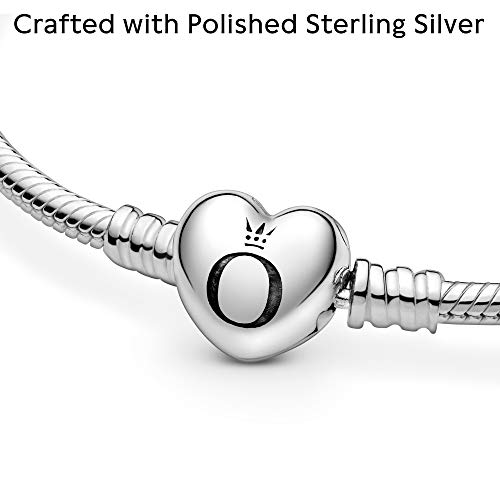 """PANDORA Jewelry Moments Heart Clasp Snake Chain Charm Sterling Silver Bracelet, 7.5"""" 3"""