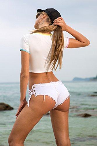 Blanco Twippo Mini de Short Mujer Vaquero SSgwXHqT