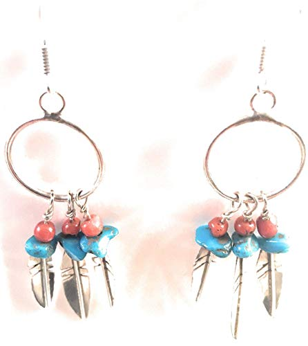 Navajo Sterling Silver Multi Stone Feather Dangle Earrings from Nizhoni Traders LLC