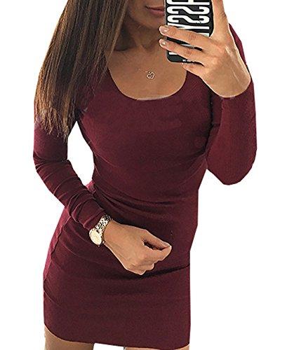 a da Abito Vestiti Tubino Sera Moda Vino Unita Corto Maniche Rotondo Collo Donne Rosso Lunghe Abiti Mini Partito Cocktail Vestito Tinta 5qzg8gw
