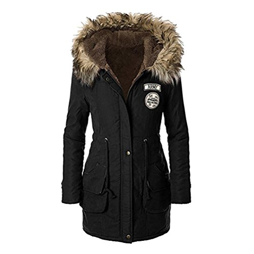 Cotton Long Coats Warm Zhhlinyuan Jackets Black with Tooling Thickening Hooded élégant Hiver amp; Patch Womens Military et Chic q7xw7g