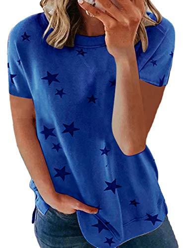 Kurzarm Damen Drucken Star Rundhals Blusen Tuniken Loose Sommer Oberteil T-Shirt Women