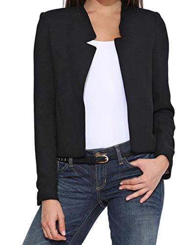 Chic Business Cute Blazer Schwarz Monocromo Donna Corto Fashion Ufficio Allentato Manica Primaverile Slim Autunno Lunga Giubbino Camicia Eleganti Fit Cappotto xBqOWP7RB