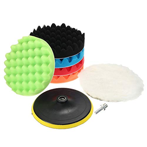 MATCC 7Pcs 7inch Polishing Pads,Sponge and Woolen Polishing Waxing Buffing Pads Kits with M14 Drill Adapter, 7inchs (Pad Adapter)