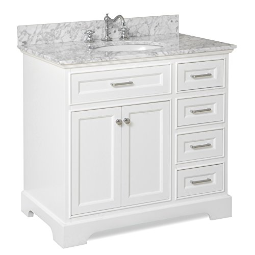 (Aria 36-inch Bathroom Vanity (Carrara/White): Includes a White Cabinet with Soft Close Drawers, Authentic Italian Carrara Marble Countertop, and White Ceramic Sink)