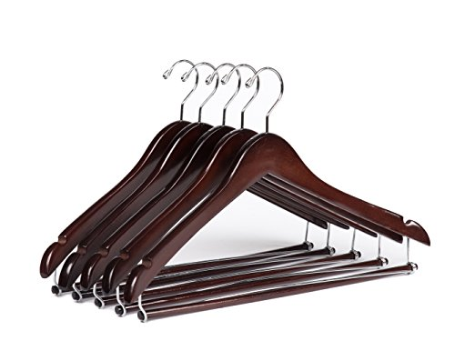 Quality Hangers Wooden Hangers Beautiful Sturdy Suit Coat Hangers with Locking Bar Mahogany (5) by Quality Hangers