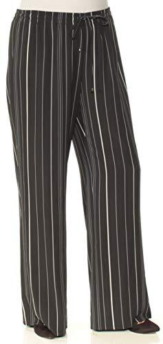 Calvin Klein $89 Womens New 5981 Black Pinstripe Wide Leg Casual Pants L B+B
