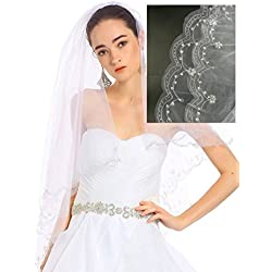 "Passat Champagne 1 Tier 28""Elbow Length Short wedding vails beautifully beaded scallop edge Wedding Bridal Veil 137"