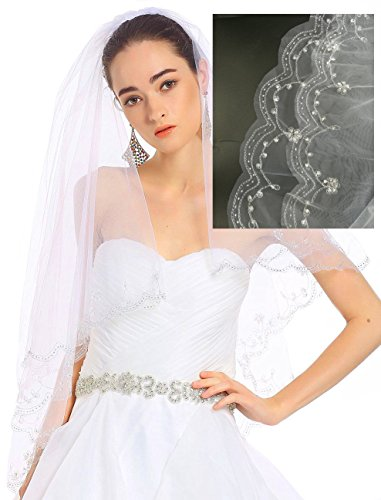 Passat 1T/2T Wedding Bridal Veil with Embroidery of Pearls, Sequins, and Rhinestones 137
