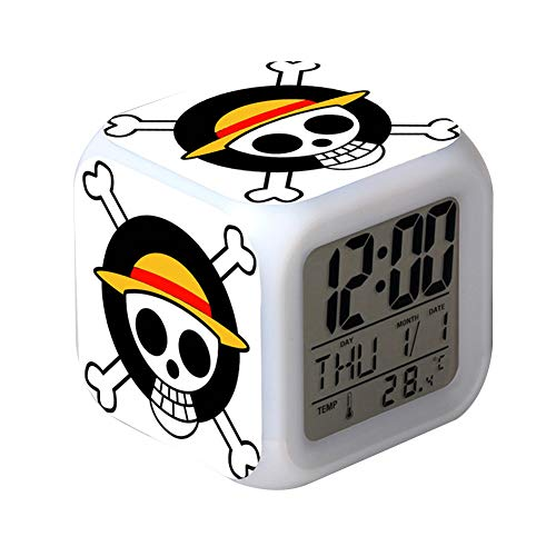 Raleighsee One Piece Anime LED Color Change Alarm Clock Luffy Chopper Three-Sided Printing Colorful Alarm Clock Pupil Discoloration Small Alarm Clock for Anime Fans(H09)