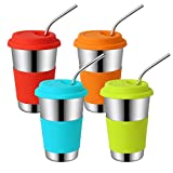 Auranso Kids Stainless Steel Cup, Pack of 4 500ml/17oz Drinking Tumbler with Silicone Lids & Straws BPA-Free Eco-Friendly Camping Travel Mug for Toddler, Children and Adult