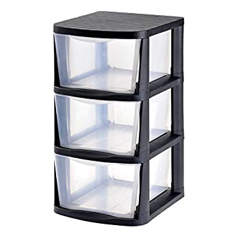 Muscle Rack PDT3 2PK 3 Drawer Clear Plastic Storage Tower With Black Frame  (Pack