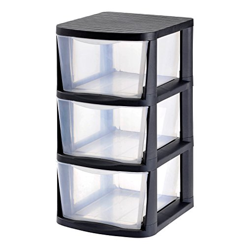 Muscle Rack PDT3-2PK 3 Drawer Clear Plastic Storage Tower with Black Frame (Pack of 2) by Muscle Rack