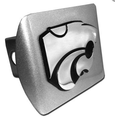 Kansas State Wildcats Brushed Metal Trailer Hitch Cover with Chrome Metal Logo