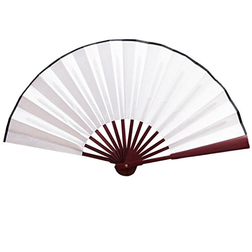 - Clearance!!! Hongxin Chinese Style Silk Cloth Blank Folding Fan Wooden Bamboo Antiquity Folding Fan Calligraphy Painting for Wedding Party Favor Creative Gift (White)