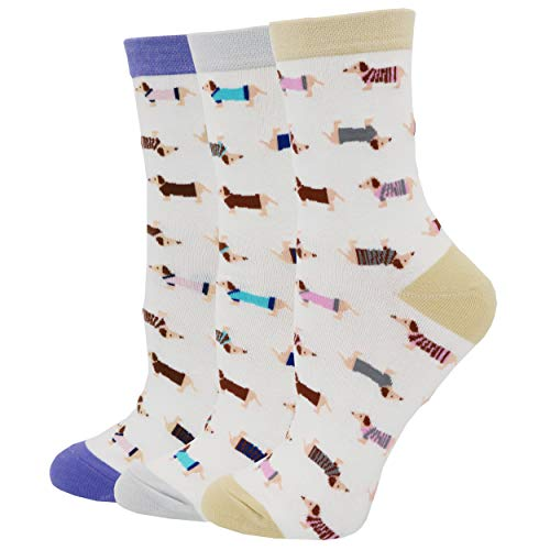 (Pomlia Women's Haute Dachshund Socks Dog Socks (OneSize,)