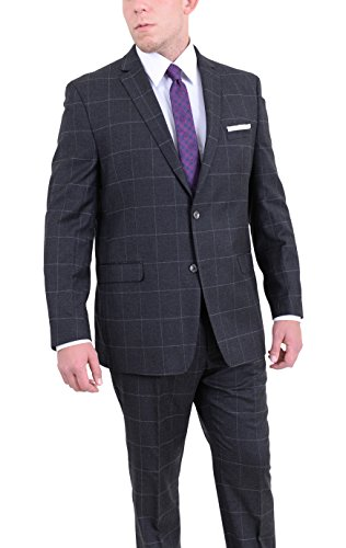 Ital Uomo Regular Fit Charcoal Gray Plaid Two Button Flannel Wool Blend Suit (Plaid Blend Wool Flannel)