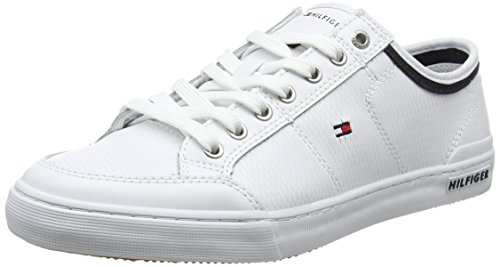 Hilfiger Tommy Core Weiß Sneaker 100 Herren White Leather Corporate rq7wqgd