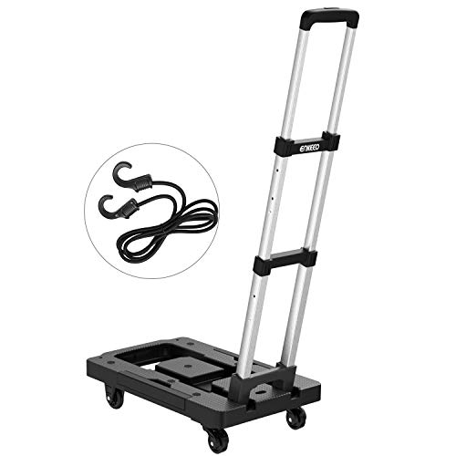 ENKEEO Foldable Hand Truck and Dolly 300 lbs Capacity - Collapsible Platform Cart with 5 Swivel Lockable Casters Trolley for Luggage, Travel, Shopping, Auto, Moving and Office Use -