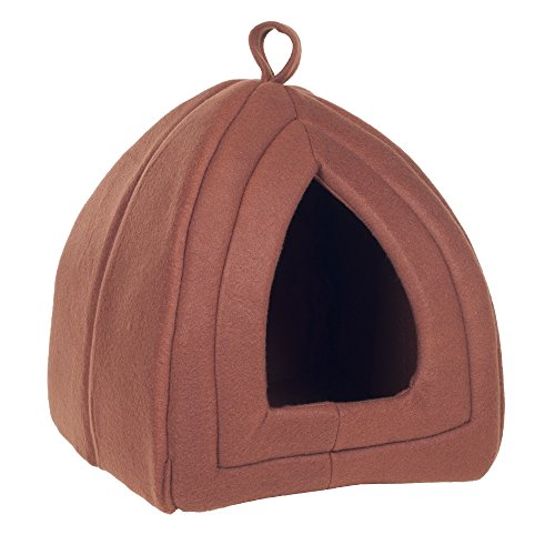 PETMAKER Cozy Kitty Tent Igloo Plush Cat Bed - Brown