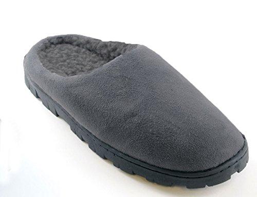 Mens Polysuede Soft Fleece Lined Slippers - Grey or Black (UK 7 (EU 41), Grey) Grey