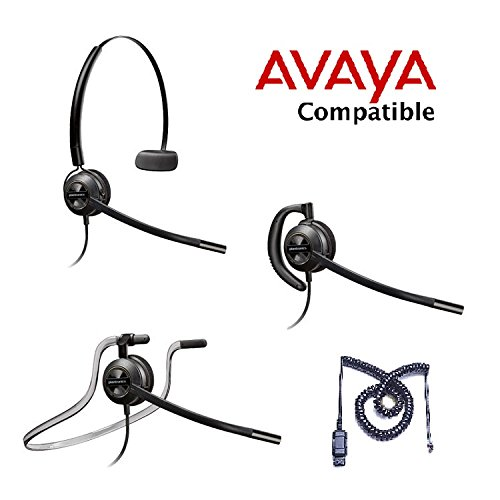 Avaya Compatible Plantronics EncorePro 540 HW540 VoIP Noise Canceling Headset Bundle Avaya 1600, 9600 IP Phones: 1608, 1616, 9601, 9608, 9610, 9611, 9611G, 9620, 9620C, 9620L, 9621, 9630, 9640, 9640G, 9641, 9650, 9650C, 9670 ()
