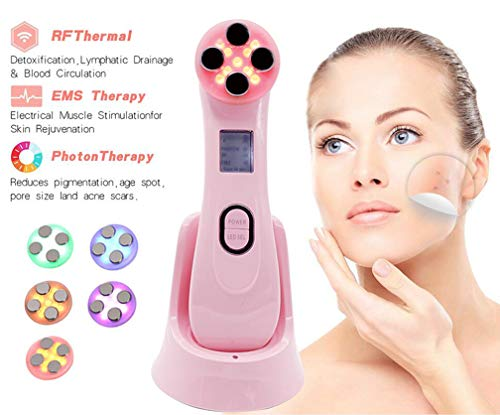 Wrinkle Remove Machine Carer Face EMS Massager Red Light Face Anti Aging Devices RF Radio Frequency Skin Lifting Tightening Machine (Black)