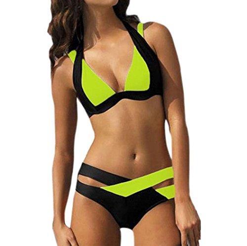 Women's Bikini Halter Top Push Up Criss Cross Double Straps Swimsuit Beachwear Two Piece Set (Green, - Cross Sunglasses Criss
