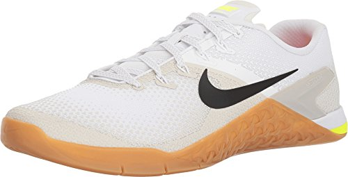 NIKE Men Metcon 4 Training Shoe, Size 11.5, White/Black-Light Bone-Gum MED Brown