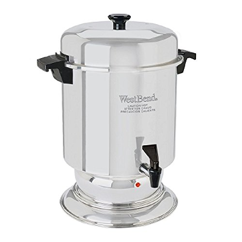 West Bend 13550 Polished Stainless Steel Commercial Coffeemaker Features Automatic Temperature Control Large Capacity with Quick Brewing Easy Clean Up, 55-Cup, Silver
