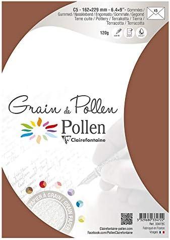 Clairefontaine confezione da pz 5 Pollen 26442C Confezione da 5 Buste Avorio 16.2 x 22.9 cm