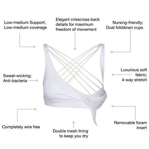 Sweat & Milk Océane Nursing/Maternity Sports Bra   Stylish Wireless Breathable Removable Padded Comfort   Exercise, Medium Impact + Support & One-Hand Breastfeeding Dual Fold Down Cups (Medium, White)